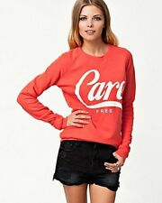 "New Zoe Karssen ""Care Free"" Orange Sweatshirt Size XS"