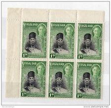 NYASALAND 1945 KGVI 1d Green. block of 6 MNH