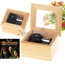Square Natural Wood 18 note Wind Up Music Box : PIRATES OF CARIBBEAN DAVY JONES