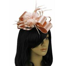 PALE PINK FASCINATOR HAIR FEATHER SATIN COMB HAT FLOWER HATINATOR NM 101