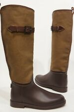 CHLOE CARVAN AND RUBBER TALL  RAIN BOOTS BROWN SHOES 38/8 $495
