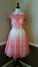 Modcloth Exquisite Elegance 8 Chi Chi White~Coral Embroidered Formal Tea Dress