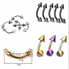 US-3 PAIRS-Stainless Steel Spike Curved Barbell Eyebrow Rings Bar Body Piercing