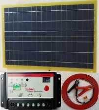 20w Light Solar Panel + 10A 12v 24v Battery Charger +8m cable c/w fuse & clips