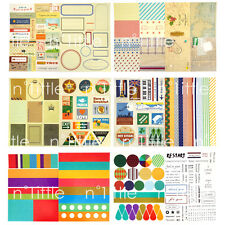12 Sheets Vintage Style Diary Deco Stickers Labels Scrapbook Journal #SK-07