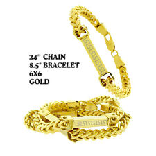 """Yellow Gold G/P  Franco 24""""Chain+8.5"""" Bracelet Stainless Steel Necklace Set Men"""