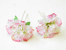 2x Blush Pink White Carnation Flower Hair Pins Bridesmaid Floral Rockabilly 1561