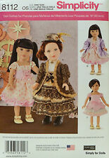 "Simplicity 8112 Sewing PATTERN for 18"" AMERICAN GIRL DOLL Clothes Party Dresses"