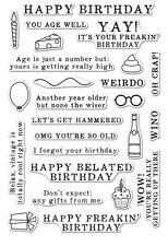 """Brand New Hero Arts  """"Irreverent Birthday Messages"""" Poly Clear Sentiment Stamps"""
