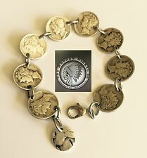 """Mercury Dime Pure Silver 7.5"""" Coin Bracelet Hand Made Artisan Jewelry"""