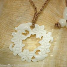 35mm Carved Hawaiian Eternal Turtle Dolphin Plumeria Buffalo Bone Necklace 26""