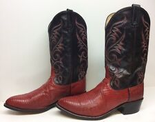 #G MENS DAN POST COWBOY LIZARD SKIN LEATHER RED BOOTS SIZE 11.5 EW
