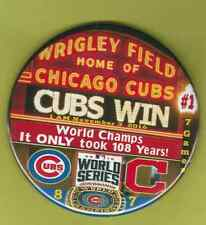 WORLD SERIES 2016 CHICAGO CUBS CLEVELAND BUTTON PIN 3.5 INCH JUMBO CHAMPIONS