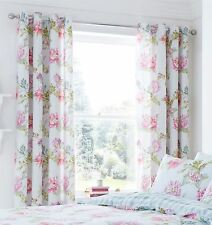 "FLORAL CHRYSANTHEMUMS CHECK DUCK EGG LINED 66""X72""-168X183CM RING TOP CURTAINS"