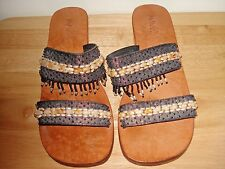 Mangos Derma Womens Sandals Size 7M Dark Gray Multi-Color Fabric/Beaded