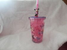 Disney Store Minnie Mouse/Daisy GlitterTumbler Cup With Lid Straw -NWT