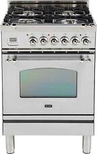 "Ilve UPN60DVGGIX Nostalgie 24"" Gas Range Single Oven Convection Stainless Steel"