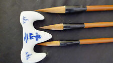 3 CHINESE XXL LM WOLF WRITING CALLIGRAPHY PAINTING BRUSH JAPANESE CRAFT W STAND
