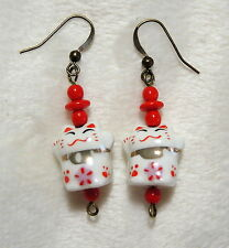 Handmade Pierced Earrings Maneki Neko Lucky Cat & Red Glass Beads