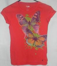 77Kids by AE Top Shirt Short Sleeve Sz 12 Orange Slim Fit Butterfly V-Neck