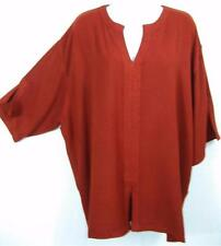 TIENDA HO~SPANISH RED~MOROCCAN COTTON~Jana Trapunto Top~resort~TEXTURED~OS~M-XL