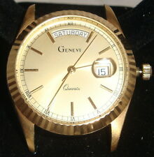 Men's 14K Solid GOLD Geneve Quartz Watch Roman Numerals