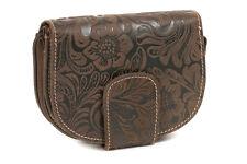 Damenbörse mit ''Lilien-Muster'' im Vintage-Stil LEAS in Echt-Leder, braun