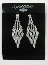 Silver Clear Rhinestone Crystal Dangle Earrings Wedding Prom Bridal # 5788 New