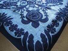 """Hawaiian quilt 100% hand quilted/appliqued FULL-TWIN  BEDSPREAD 2 SHAMS  80""""x80"""""""