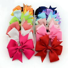 "20PCs 3"" Big Hair Bows Boutique Girls Alligator Clip Grosgrain Ribbon Headband"