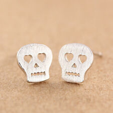 Brushed 925 Sterling Silver PL Cute Little Small Skull Head Stud Earrings Gift