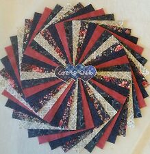 Navy Blues with a cranberry Charm pack 5 inch squares 50 pk.Quilting Fabric,