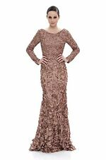 Theia Tawny Long-sleeve Petal Applique Satin Evening Gown - Size 10 NWT $1,295