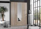 SlumberHaus German 'Berlin' 3 Door & 2 Drawers Oak and Mirror Door Wardrobe