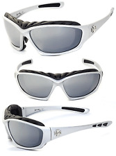 Choppers Motorcyle Riding Glasses Foam Padded Sunglasses -  Silver / Mirror C49