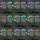 Unisex 7 Mode LED Rave Light Glow Mitten White Finger Lighting Flashing Gloves