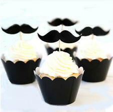 12x BLACK MOUSTACHE BEARD Brithday Party Cupcake Cake Wrapper & Toppers *NEW*