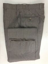ISAIA Delain Selection Wool Mid-Brown Flat-Front Pants W30 EU 46R