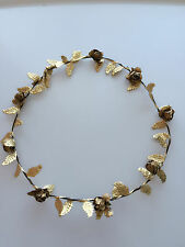 Women Girl BOHO Leaf Beach wedding Gold Flower Hair Headband crown Garland hoop