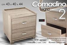 COMODINO 2 CASSETTI H44*43*40 ROVERE SBIANCATO Moderno Elegante TCC 623462