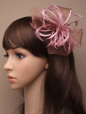 Dusky Pink Looped Net & Feather Fascinator Wedding Hair Clip Corsage Brooch