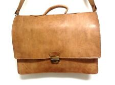 "Tan Rustic Grain Tobbacco Leather Briefcase 16"" Laptop Case Rugged Portfolio"