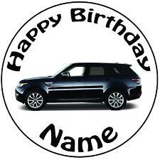 """Cumpleaños Personalizado Land Rover Redondo 8"""" fácil Precortada Glaseado Cake Topper"""