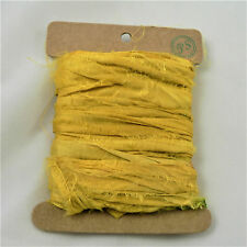 Yellow Indian Sari Silk Ribbon Card 5 Metre Length