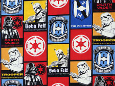 FAT QUARTER  STAR WARS 100% COTTON FABRIC GLOW IN DARK DARTH VADER BOBA FETT  FQ