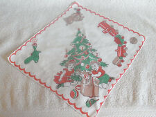 Vintage Xmas Child's Handkerchief Hanky Puppy Toys Train Tree Kids-Perfect-CUTE!