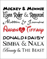 Anniversary Gift Print Engagement Wedding Personalized DISNEY Couples