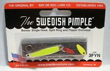 Bay De Noc Swedish Pimple FL Yellow Fishing Jig Lure Size 3 1/5oz w/Bonus