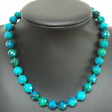 Pretty 10mm Azurite Faceted Round Beads Gemstone Necklace 18 ""