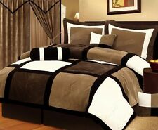 7 Pc Brown Black Beige Bed in a Bag Micro Suede KING Comforter Set Bedding